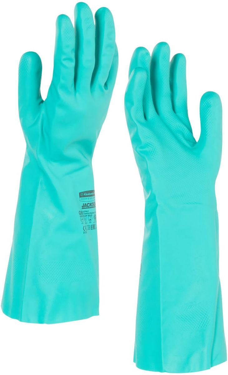 Перчатки хозяйственные Jackson Safety G80, цвет: зеленый. Размер 11. 9444994449Ассортимент перчаток для защиты рук от химических веществ и механических воздействий - повышают безопасность работ и сокращают затраты. Нитриловые перчатки длиной 33 см являются СИЗ категории III (CE Complex), применяются в различных отраслях промышленности: нефтехимической, авиационной, автомобильной, металлообрабатывающей, пищевой, а также в машиностроении, - для работы с химическими веществами, маслами, смазками, спиртами, кислотами, растворителями, обеспечивая возможность погружения руки в перчатке в химические жидкости. Обладают высокой стойкостью к истиранию (4 - EN 388). Внутренняя сторона перчатки обработана специальным хлопковым напылением, которое позволяет легко надевать и снимать перчатки. Допустимы к применению в пищевой промышленности. Формат поставки: пара не содержащих латекс перчаток; индивидуальный дизайн для левой и правой руки; специальный рельеф наконечников пальцев обеспечивает отличный захват в сухом и влажном состоянии; флокированный внутренний слой облегчает...
