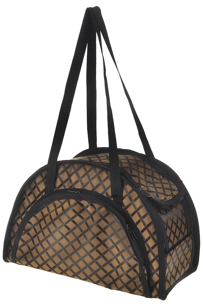 Сумка-переноска для животных Elite Valley, модельная, складная, цвет: черный, коричневый, 36 х 15 х 23 смС-13_ромбы на коричневомМодельная сумка-переноска Elite Valley для собак мелких пород и кошек имеет твердое съемное основание, которые не позволяет животному провисать. Изделие выполнено из плотного материала и текстиля, а также имеет сборную-разборную конструкцию. Закрывается при помощи застежки-молнии. С внешней стороны имеется удобный карман, который также закрывается на молнию. Сумка снабжена карманом и специальной сетчатой вставкой, которая закрывается на липучку. Для удобной переноски имеется две ручки. При необходимости сумка складывается и фиксируется липучкой. Сумка-переноска Elite Valley обязательно понравится вашим домашним любимцам и сделает любую поездку наиболее комфортной.