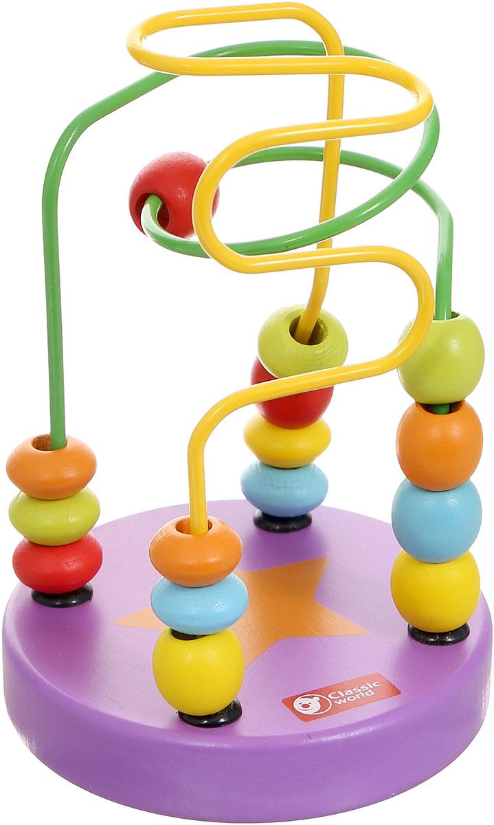 Classic World Сортер-лабиринт Бусины и горки цвет фиолетовый003647/фиолетовыйСортер-лабиринт Classic World Бусины и горки выполнен из высококачественных материалов в виде двух цветных металлических прутиков с нанизанными на них деревянными бусинками. Разнообразные бусинки познакомят ребенка в простой и занятной игровой форме с базовыми цветами. Игра прекрасно способствует развитию логики, мышления и мелкой моторики. Компактные размеры игрушки позволяют брать ее в дорогу.