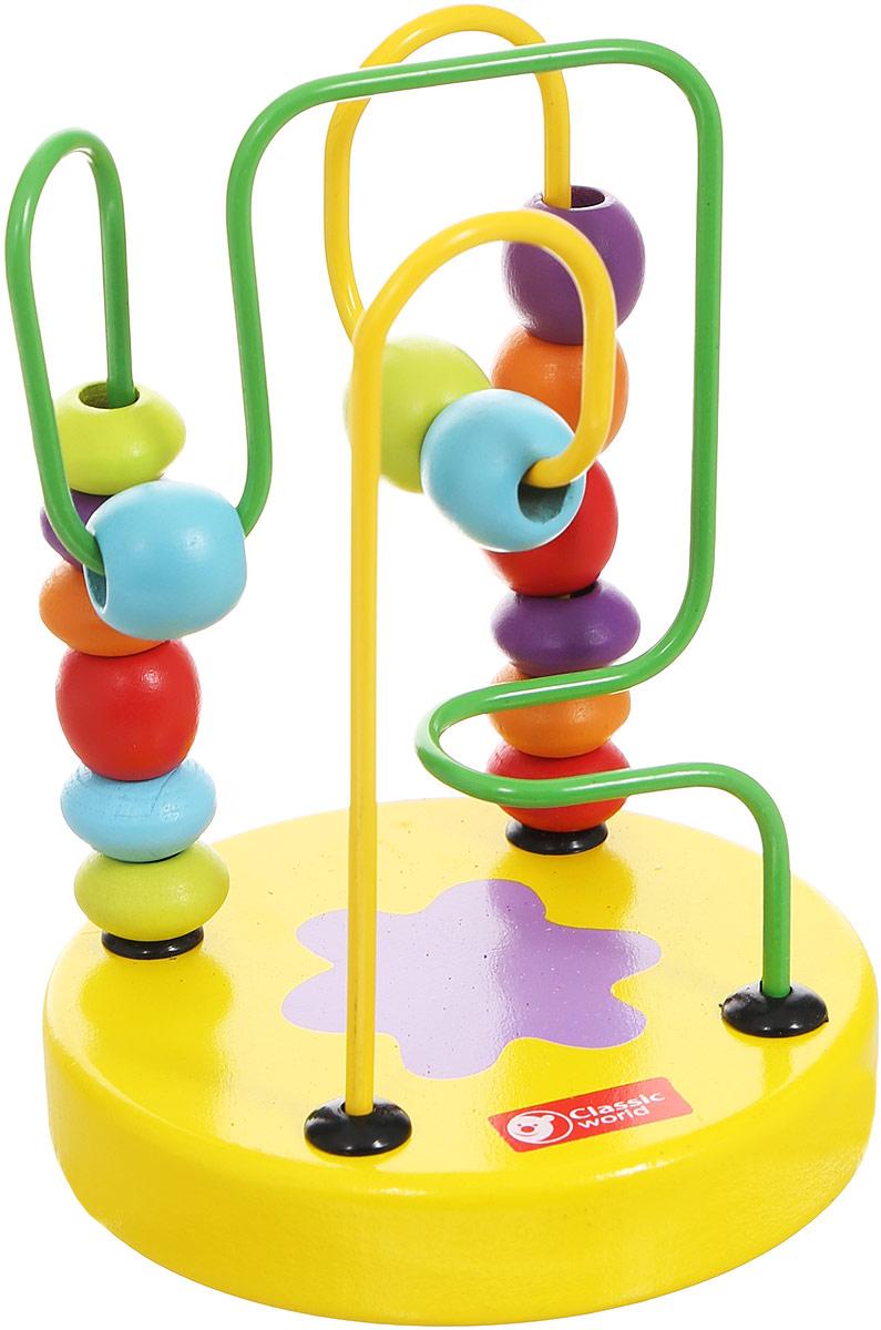 Classic World Сортер-лабиринт Бусины и горки цвет желтый003647/желтыйСортер-лабиринт Classic World Бусины и горки выполнен из высококачественных материалов в виде двух цветных металлических прутиков с нанизанными на них деревянными бусинками. Разнообразные бусинки познакомят ребенка в простой и занятной игровой форме с базовыми цветами. Игра прекрасно способствует развитию логики, мышления и мелкой моторики. Компактные размеры игрушки позволяют брать ее в дорогу.