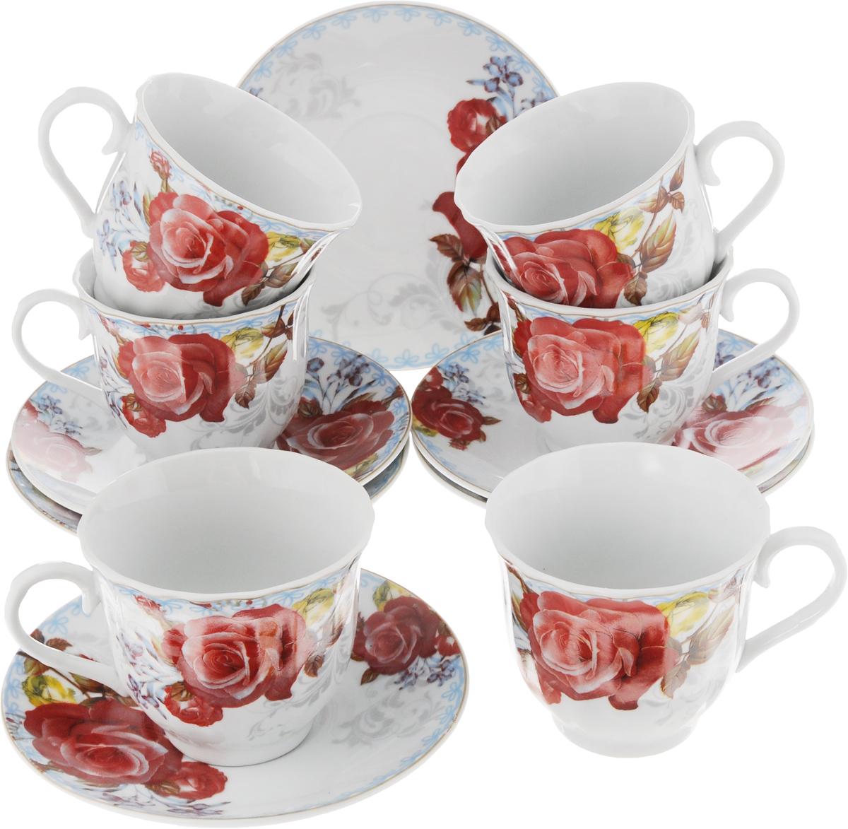 Набор чайный Bella, 12 предметов. DL-RF6-188DL-RF6-188Чайный набор Bella состоит из 6 чашек и 6 блюдец, изготовленных из высококачественного фарфора. Такой набор прекрасно дополнит сервировку стола к чаепитию, а также станет замечательным подарком для ваших друзей и близких. Объем чашки: 220 мл. Диаметр чашки (по верхнему краю): 8 см. Высота чашки: 7 см. Диаметр блюдца: 14 см. Высота блюдца: 2 см.