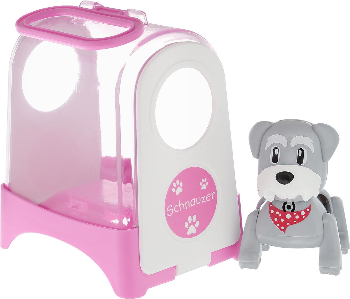 DigiFriends Интерактивная игрушка Щенок в переноске цвет переноски розовый белый88485S_розовый, белыйИнтерактивная игрушка DigiFriends Щенок в переноске непременно станет близким другом вашего малыша. Щенок умеет делать множество вещей, присущих настоящим домашним питомцам, и даже чуть больше! Нужно поиграть с животным, чтобы активизировать его: потрогать за голову, похлопать в ладоши или посвистеть. Щенок умеет самостоятельно ходить вперед и назад, издает приятные звуки и поет одну из встроенных песенок-мелодий. Во время передвижения задняя часть тела собачки раскачивается в ритме звучащих мелодий, а спинка шевелится подобно шерсти настоящего животного. Также вы можете брать его с собой в путешествие или на прогулку в удобной переноске, которая входит с ним в комплект. Игрушка синхронизируется с LilPuppies и LilKittens. Создайте свою коллекцию интерактивных щенков различных пород! Игрушка изготовлена из высококачественного пластика, который не содержит вредных химических веществ. Рекомендуется докупить 3 батарейки напряжением 1,5V типа АG13 (товар...