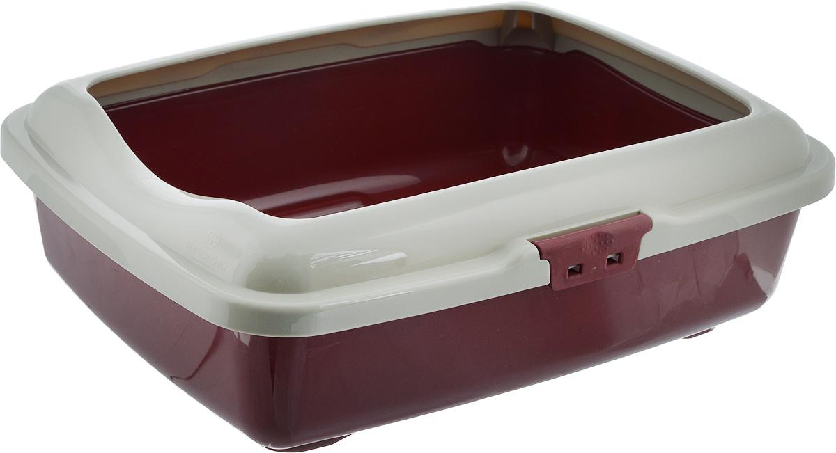 Туалет для кошек Marchioro Goa, с бортом, цвет: коричневый, серый, 43 х 33 х 14 см1066100200099_тёмно/коричневый, серыйТуалет для кошек Marchioro Goa изготовлен из высококачественного пластика. Высокий борт, прикрепленный по периметру лотка, удобно защелкивается и предотвращает разбрасывание наполнителя. Благодаря специальным резиновым ножкам туалет не скользит по полу.