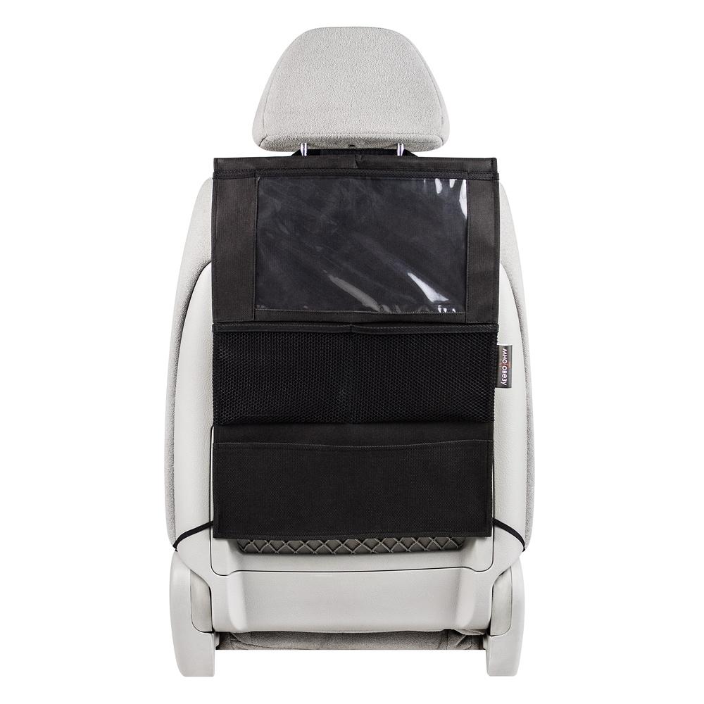 Органайзер Много Везу, на спинку сиденья, для планшета, 52 х 37 см. М 112М 112Удобный и вместительный органайзер помогает компактно разместить множество различных вещей в салоне автомобиля. Отделение для планшета сделано из специальной пленки, которая позволит управлять гаджетом не вынимая его. Жесткий верхний каркас позволяет всегда держать форму органайзера, а универсальный размер подойдет на сиденье любого автомобиля. Имеет 4 кармана. Размеры: 37 х 52 см. Материал: спанбонд (плотность 100 гр/м2), прочная сетка, плёнка ПВХ