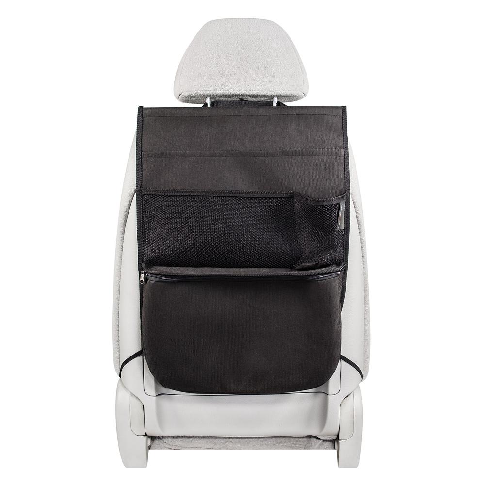 Органайзер Много Везу, на спинку сиденья, с термо-отделением, 55 х 40 х 8 см. М 115М 115- Жесткий верхний каркас - Универсальный размер - 4 кармана - Термо-отделение Удобный и многофункциональный органайзер помогает компактно разместить множество различных вещей в салоне автомобиля. Вместительное нижнее термо-отделение удерживает холод или тепло. Жесткий верхний каркас позволяет всегда держать форму органайзера, а универсальный размер подойдет на сиденье любого автомобиля. Размеры: ширина — 40 см, высота — 55 см Размеры термо-отделения: ширина — 38 см, высота — 25 см, ширина дна — 8 см Материал: спанбонд (плотность 100 гр/м2), прочная сетка Цвет: черный