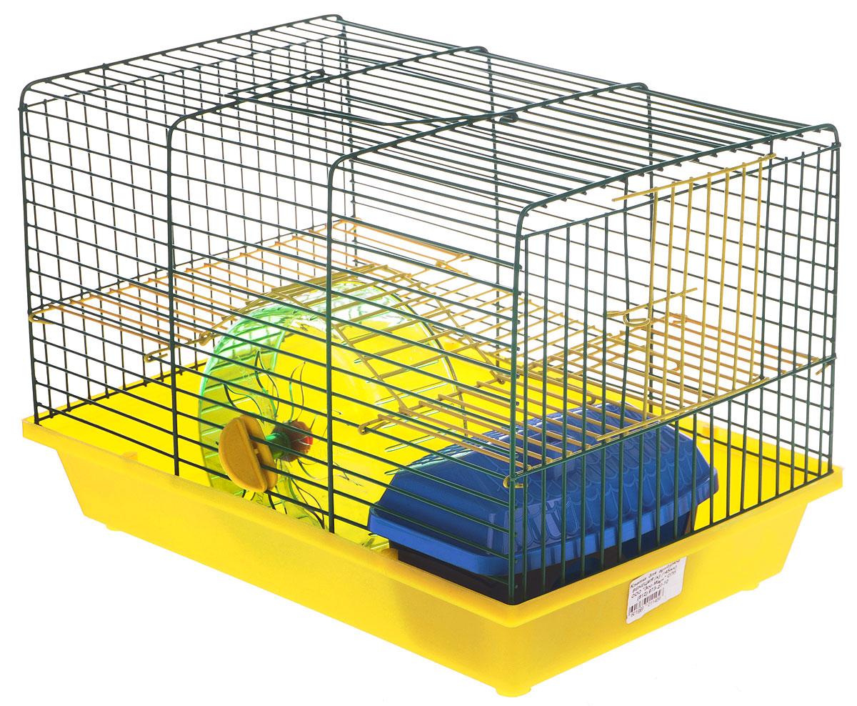 Клетка для грызунов Зоомарк Венеция, 2-этажная, цвет: желтый поддон, зеленая решетка, 36 х 23 х 24 см145кЖЗКлетка Зоомарк Венеция, выполненная из полипропилена и металла, подходит для мелких грызунов. Изделие двухэтажное, оборудовано колесом для подвижных игр и пластиковым домиком. Клетка имеет яркий поддон, удобна в использовании и легко чистится. Сверху имеется ручка для переноски. Такая клетка станет уединенным личным пространством и уютным домиком для маленького грызуна.
