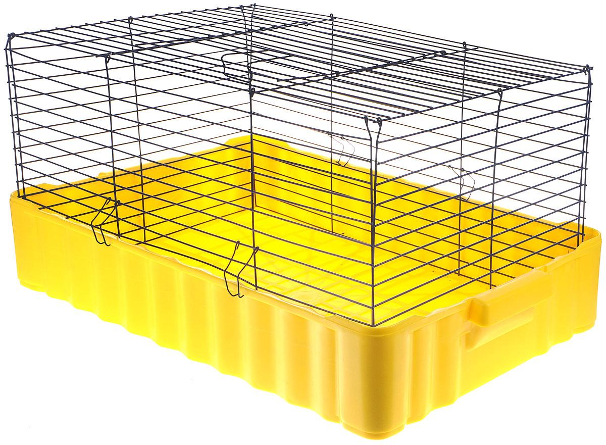 Клетка для кроликов ЗооМарк, цвет: желтый поддон, синяя решетка, 75 х 46 х 40 см640ЖСКлетка для кроликов ЗооМарк, выполненная из металла и пластика, предназначена для содержания вашего любимца. Клетка имеет прямоугольную форму и очень просторна. Размеры позволят оснастить клетку всеми необходимыми предметами. Она очень легко собирается и разбирается. Такая клетка станет для вашего питомца уютным домиком и надежным убежищем.
