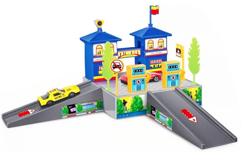 Dave Toy Игровой набор Заправочная станция32020Если вы задумались о том, что подарить ребенку, то игровой набор Dave Toy Заправочная станция - это, что вам нужно! Это не простая заправочная станция, а целая улица, на которой располагаются два здания синего цвета, которые соединены между собой переходом. В окошках зданий видны их обитатели. Одна крыша украшена часами, на второй крыше развивается флаг. На этой же улице располагается оранжевая заправка. Там же можно установить дорожный знак. Вокруг заправки стоят деревья. В комплектацию набора входит машинка. Въезд и выезд с заправки изображен в виде мостиков, направление движения отмечено стрелочками. Все детали игрового набора выполнены из качественного и безопасного для детей материала.