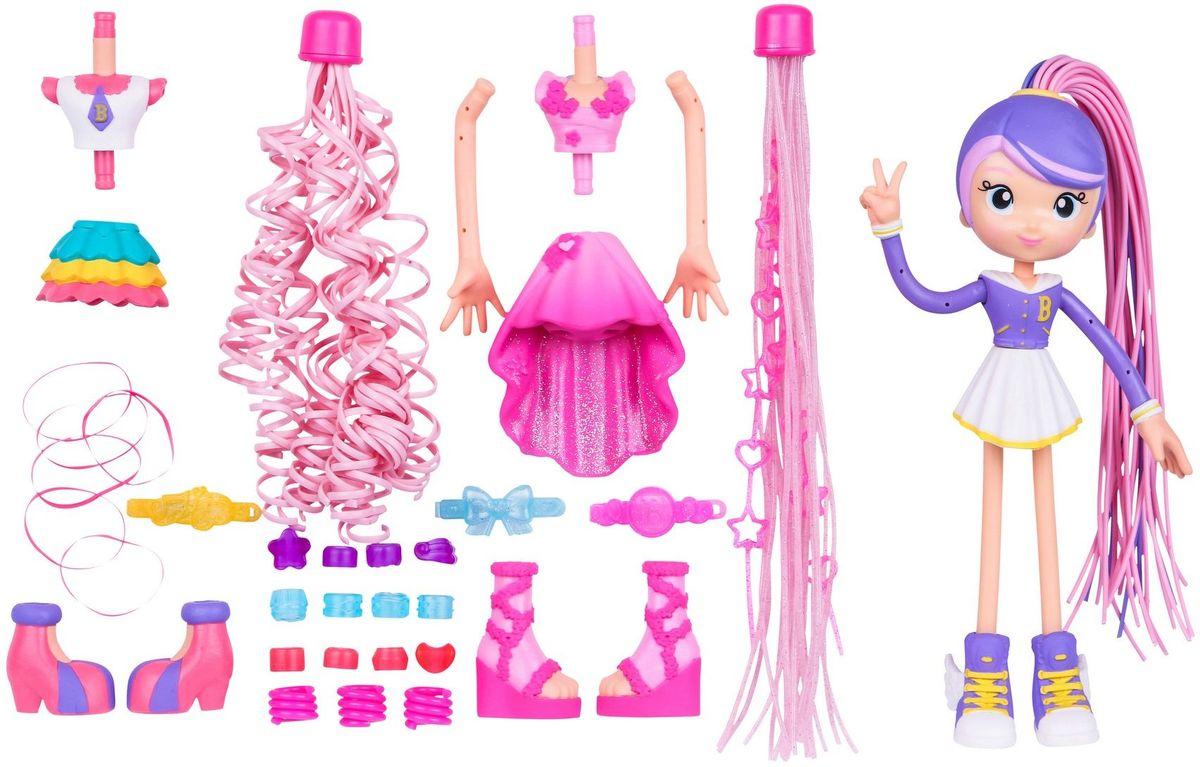 Moose Игровой набор с мини-куклой Модные прически59001Игровой набор с мини-куклой Moose Модные прически станет чудесным сюрпризом для маленькой модницы. В набор из серии Betty Spaghetty входят очаровательная кукла Бетти, а также аксессуары, которые помогут девочке менять кукле образы и стили. Первый образ - Бетти в спортзале. Стильный спортивный костюм включает в себя короткую белую юбочку и фиолетовую кофту на пуговицах. Дополняют костюм красивые бело-фиолетовые кеды с желтыми шнурками. Второй образ - Бетти на танцах. Для данного образа хорошо подойдет розовое бальное платье и туфли. Третий образ - Бетти на уроках. Школьная форма состоит из пышной юбки зеленого, желтого и розового цветов и белой блузки с короткими рукавами. В качестве обуви тут подойдут розово-фиолетовые туфельки. Все детали одежды съемные и легко меняются местами. Руки и ноги куклы могут гнуться. Отдельным сюрпризом для девочки станут съемные хвостики на голове Бетти. Для каждого образа она сможет подобрать соответствующую прическу, которую украсит...