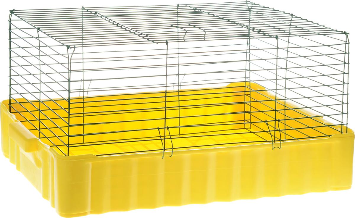 Клетка для кролика ЗооМарк, цвет: желтый поддон, зеленая решетка, 79 х 47 х 48 см640ЖЗКлассическая клетка ЗооМарк со сплошным дном станет уединенным личным пространством и уютным домиком для кролика. Изделие выполнено из металла и пластика. Клетка надежно закрывается на защелки. Легко чистится. Для более удобной транспортировки клетку можно сложить.