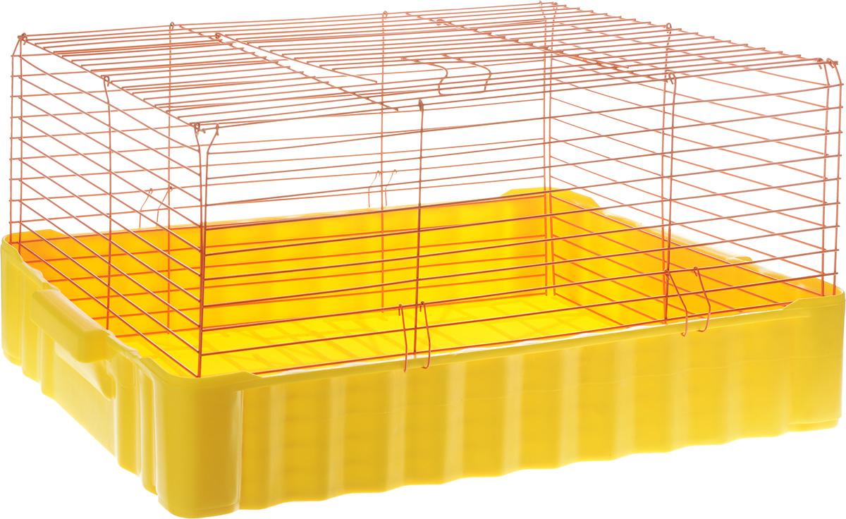Клетка для кроликов ЗооМарк, цвет: желтый поддон, оранжевая решетка, 75 х 46 х 40 см640ЖОКлетка для кроликов ЗооМарк, выполненная из металла и пластика, предназначена для содержания вашего любимца. Клетка имеет прямоугольную форму и очень просторна. Размеры позволят оснастить клетку всеми необходимыми предметами. Она очень легко собирается и разбирается. Такая клетка станет для вашего питомца уютным домиком и надежным убежищем.