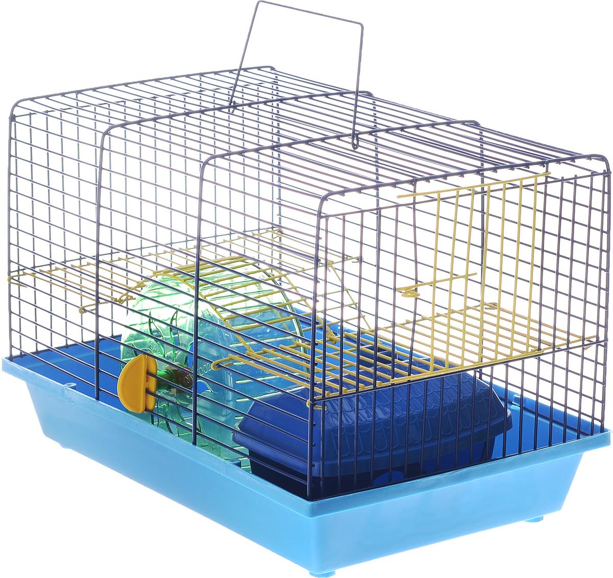 Клетка для грызунов Зоомарк Венеция, 2-этажная, цвет: синий поддон, синяя решетка, желтый этаж, 36 х 23 х 24 см145кССКлетка Венеция, выполненная из полипропилена и металла, подходит для мелких грызунов. Изделие двухэтажное, оборудовано колесом для подвижных игр и пластиковым домиком. Клетка имеет яркий поддон, удобна в использовании и легко чистится. Сверху имеется ручка для переноски. Такая клетка станет уединенным личным пространством и уютным домиком для маленького грызуна.
