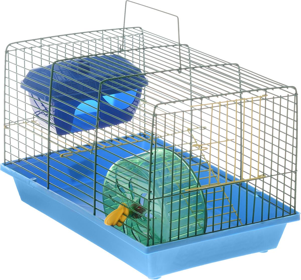 Клетка для грызунов ЗооМарк, 2-этажная, цвет: синий поддон, зеленая решетка, 36 х 22 х 24 см125жСЗ_синий поддон, зеленая решеткаКлетка ЗооМарк, выполненная из полипропилена и металла, подходит для мелких грызунов. Изделие двухэтажное, оборудовано колесом для подвижных игр и пластиковым домиком. Клетка имеет яркий поддон, удобна в использовании и легко чистится. Сверху имеется ручка для переноски, а сбоку удобная дверца. Такая клетка станет уединенным личным пространством и уютным домиком для маленького грызуна.