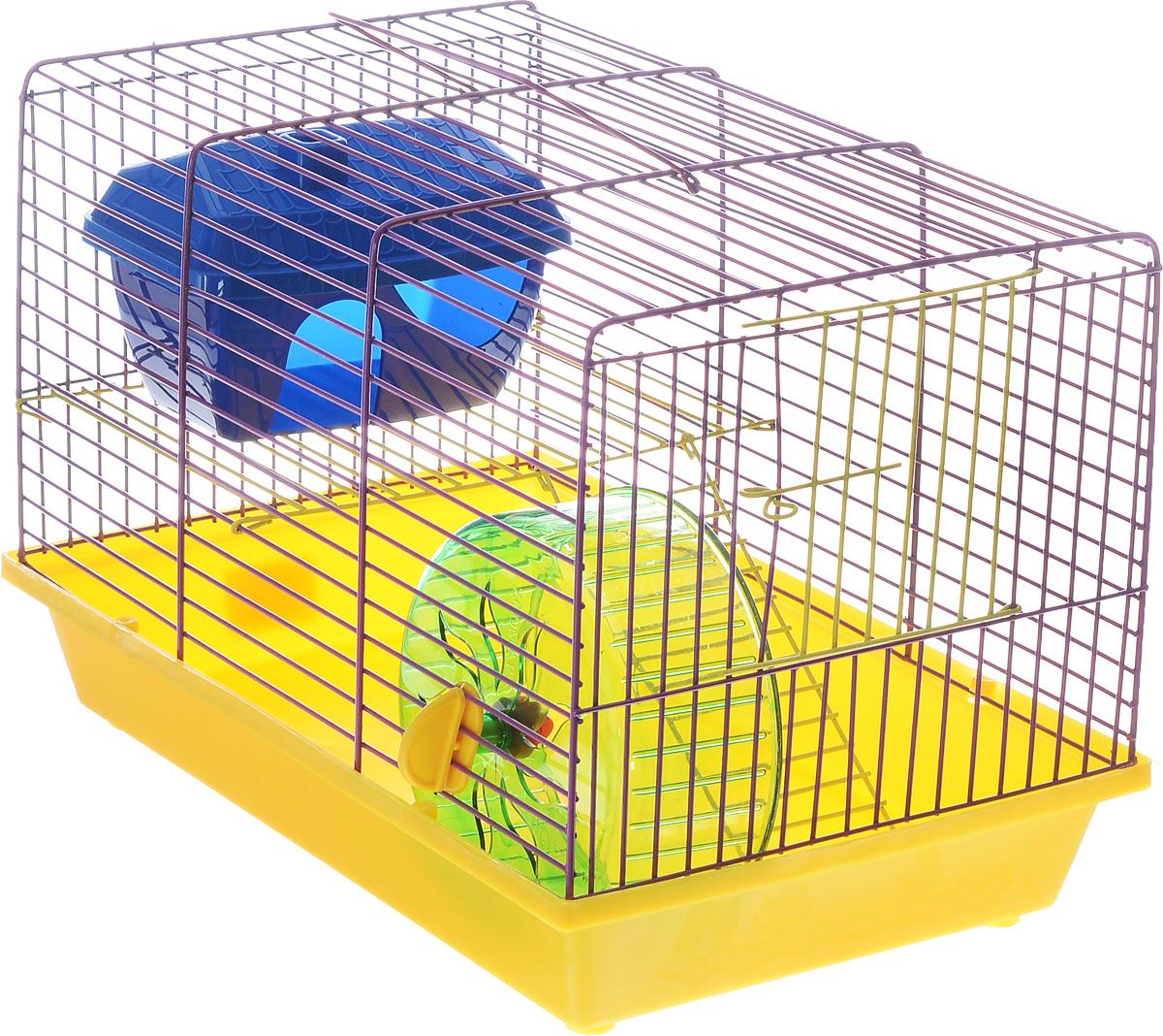 Клетка для грызунов ЗооМарк, 2-этажная, цвет: желтый поддон, фиолетовая решетка, 36 х 22 х 24 см125жЖФКлетка ЗооМарк, выполненная из полипропилена и металла, подходит для мелких грызунов. Изделие двухэтажное, оборудовано колесом для подвижных игр и пластиковым домиком. Клетка имеет яркий поддон, удобна в использовании и легко чистится. Сверху имеется ручка для переноски, а сбоку удобная дверца. Такая клетка станет уединенным личным пространством и уютным домиком для маленького грызуна.