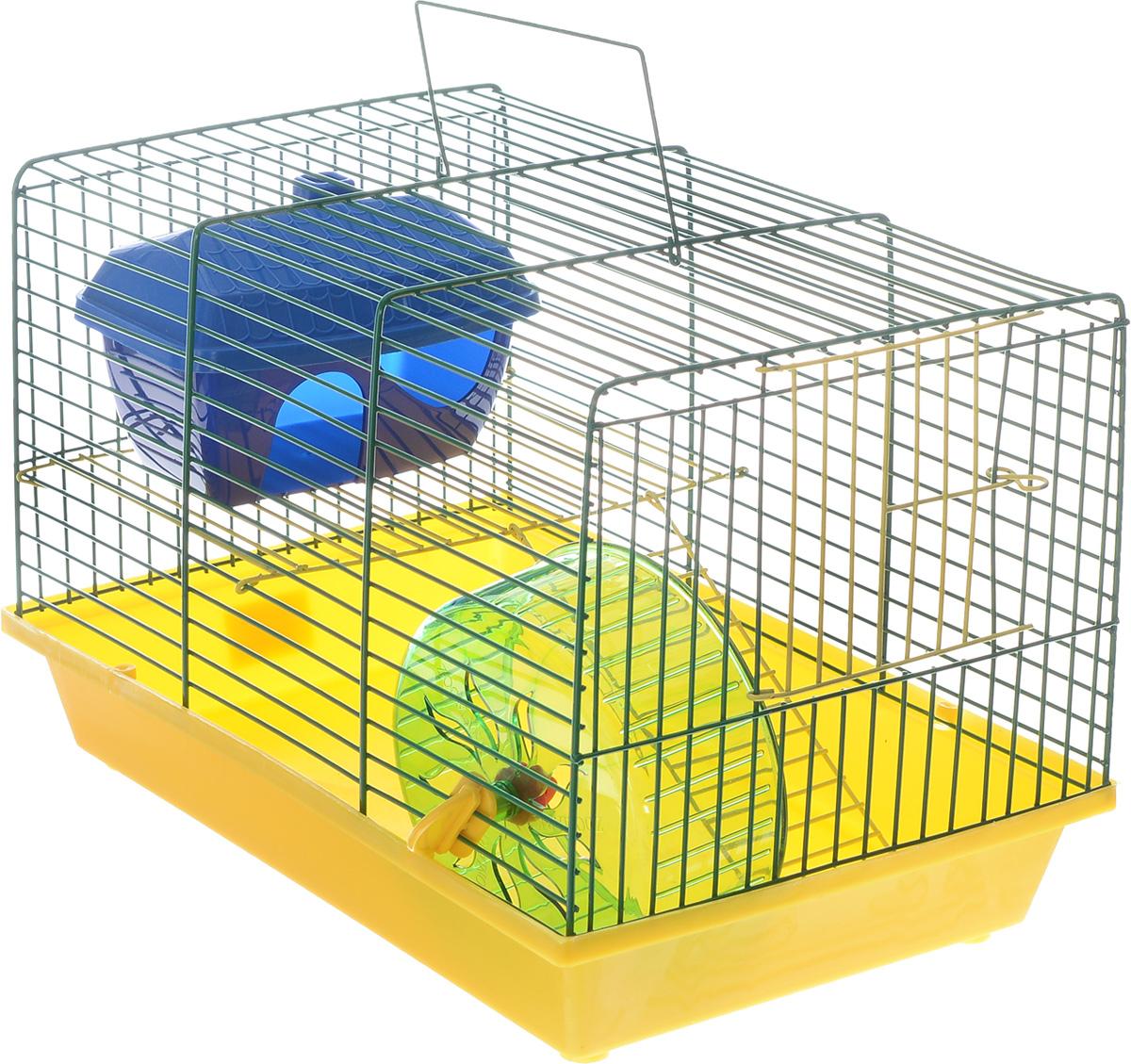 Клетка для грызунов ЗооМарк, 2-этажная, цвет: желтый поддон, зеленая решетка, 36 х 22 х 24 см125жЖЗ_желтый поддон, зеленая решеткаКлетка ЗооМарк, выполненная из полипропилена и металла, подходит для мелких грызунов. Изделие двухэтажное, оборудовано колесом для подвижных игр и пластиковым домиком. Клетка имеет яркий поддон, удобна в использовании и легко чистится. Сверху имеется ручка для переноски, а сбоку удобная дверца. Такая клетка станет уединенным личным пространством и уютным домиком для маленького грызуна.