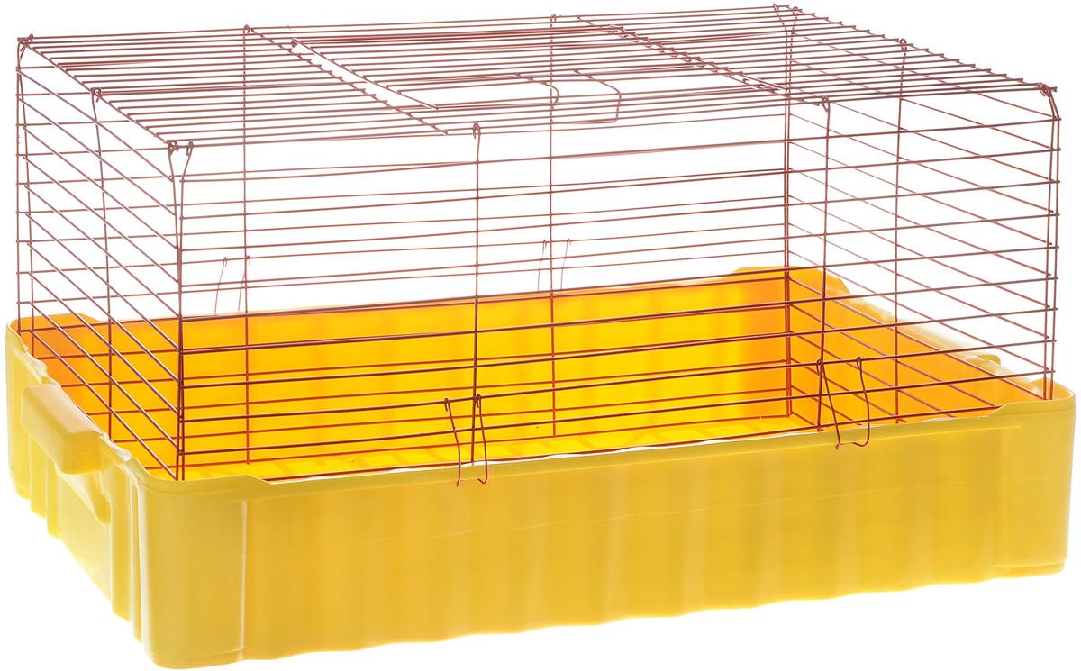 Клетка для кроликов ЗооМарк, цвет: желтый поддон, красная решетка, 75 х 46 х 40 см640ЖККлетка для кроликов ЗооМарк, выполненная из металла и пластика, предназначена для содержания вашего любимца. Клетка имеет прямоугольную форму и очень просторна. Размеры позволят оснастить клетку всеми необходимыми предметами. Она очень легко собирается и разбирается. Такая клетка станет для вашего питомца уютным домиком и надежным убежищем.