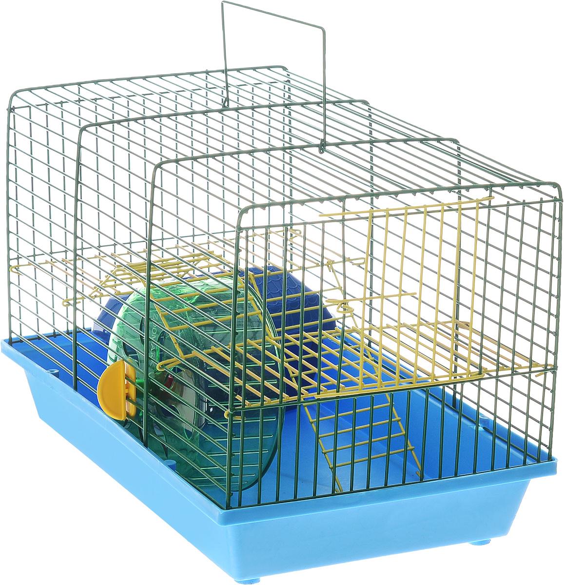 Клетка для грызунов Зоомарк Венеция, 2-этажная, цвет: синий поддон, зеленая решетка, 36 х 23 х 24 см145кСЗКлетка Зоомарк Венеция, выполненная из полипропилена и металла, подходит для мелких грызунов. Изделие двухэтажное, оборудовано колесом для подвижных игр и пластиковым домиком. Клетка имеет яркий поддон, удобна в использовании и легко чистится. Сверху имеется ручка для переноски. Такая клетка станет уединенным личным пространством и уютным домиком для маленького грызуна.
