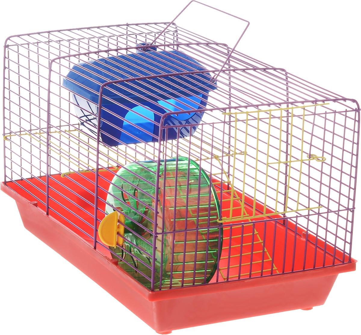 Клетка для грызунов ЗооМарк, 2-этажная, цвет: красный поддон, фиолетовая решетка, желтые этажи, 36 х 22 х 24 см. 125ж125жКФКлетка ЗооМарк, выполненная из полипропилена и металла, подходит для мелких грызунов. Изделие двухэтажное, оборудовано колесом для подвижных игр и пластиковым домиком. Клетка имеет яркий поддон, удобна в использовании и легко чистится. Сверху имеется ручка для переноски. Такая клетка станет уединенным личным пространством и уютным домиком для маленького грызуна.