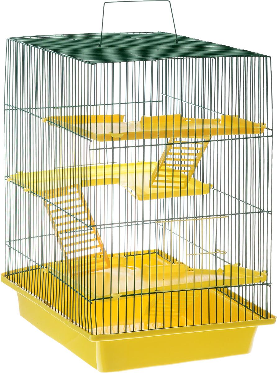 Клетка для грызунов ЗооМарк Гризли, 4-этажная, цвет: желтый поддон, зеленая решетка, желтые этажи, 41 х 30 х 50 см240ЖЗКлетка ЗооМарк Гризли, выполненная из полипропилена и металла, подходит для мелких грызунов. Изделие четырехэтажное. Клетка имеет яркий поддон, удобна в использовании и легко чистится. Сверху имеется ручка для переноски. Такая клетка станет уединенным личным пространством и уютным домиком для маленького грызуна.