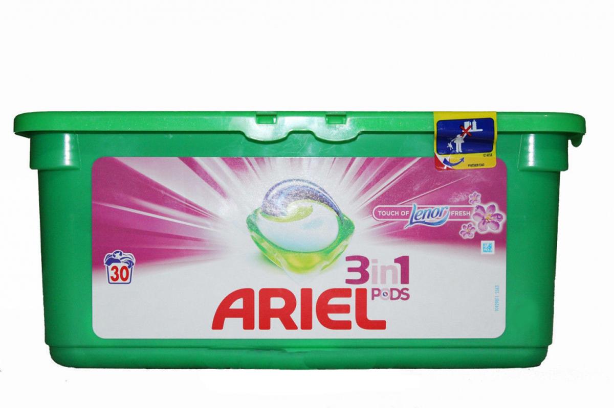 Гель в капсулах Ariel Touch of Lenor Fresh, 3 в 1, 30 штAG-81490442Гель в капсулах Ariel Touch of Lenor Fresh очищает, выводит пятна, придает яркость. Данное средство - это инновация! Первое средство для стирки с тремя раздельными компонентами, которые работают вместе. Они очищают, выводят пятна и придают тканям яркость. Компоненты находятся в отдельных секциях капсулы, что предотвращает их смешивание до начала стирки. Для наилучшего результата используйте вместе с кондиционером для белья Lenor. Состав: >30% анионные ПАВ; 5-15% неионогенные ПАВ, мыло; Товар сертифицирован.