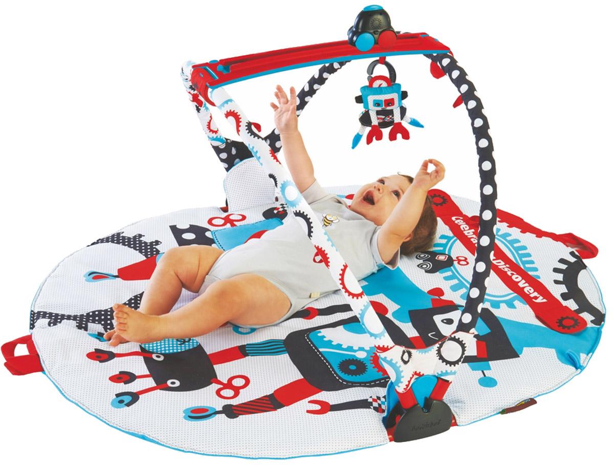 Yookidoo Интерактивный коврик Веселый тренажер40128Yookidoo Веселый тренажер - необычная модель интерактивного коврика для малышей. Мягкая цветовая гамма прекрасно подходит для детских глаз, не травмируя зрение. Коврик представляет собой тренажер для развития мышц тела ребенка в течение 1 года жизни в три этапа: - На первом этапе, малыш лежит на животике и внимательно следит за движением музыкальной машинки. На данном этапе машинка двигается по коврику параллельно глазам крохи, при этом звучит приятная музыка. Также малыш может одевать на машинку мягкие игрушки, и самостоятельно, останавливать ее движение; - На втором этапе, ребенок лежит на спине и наблюдает за движением машинки, которая закреплена между двумя мягкими дугами коврика. На машинку также можно подвешивать забавные мягкие игрушки; - На третьем этапе, малыш становится полностью самостоятельным, так как он уже научился сидеть. В таком положении ребенок может включать и выключать машинку, играть с двумя мягкими игрушками или со своим ...