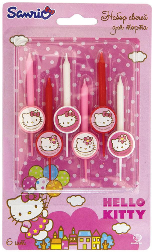 Веселая затея Свеча для торта Hello Kitty 6 шт1502-1051Нежно-розовые, красные и белые свечки для торта Веселая затея Hello Kitty. На каждой свечке медальон с кошечкой Китти с бантиком, либо с цветком. В упаковке 6 свечей, которые сделают праздничным любой торт!