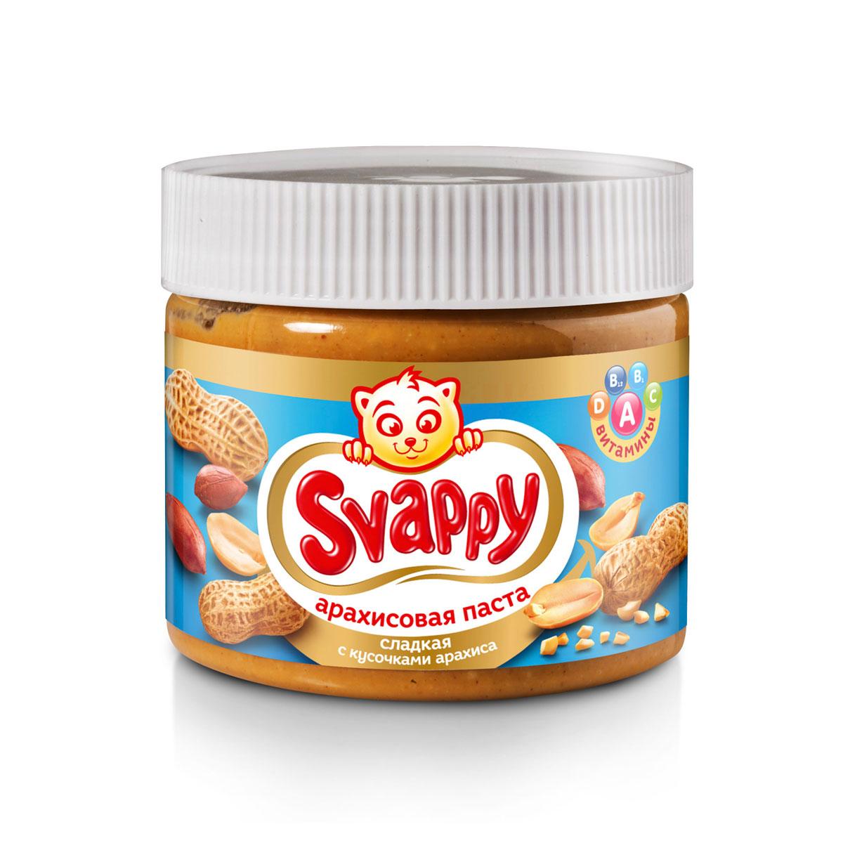 Svappy арахисовая паста сладкая с кусочками арахиса, 300 г