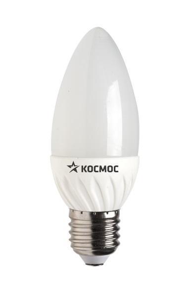 Светодиодная лампа Kosmos, теплый свет, цоколь E27, 5W, 220V. Lksm_LED5wCNE2730Lksm_LED5wCNE2730Светодиодная передовая лампа КОСМОС LED CN 5Вт 220В E27 3000K (Lksm LED5wCNE2730) способствует экономии электроэнергии до 90%. Лампа исполнена в форме свечи с белой колбой. Излучает световой поток в 400 Люмен. Обладает пониженной теплопроизводительностью. Эксплуатационный ресурс составляет 30 тысяч часов. Заменяет 60-Ваттную лампу накаливания. Уважаемые клиенты! Обращаем ваше внимание на возможные изменения в дизайне упаковки. Качественные характеристики товара остаются неизменными. Поставка осуществляется в зависимости от наличия на складе.
