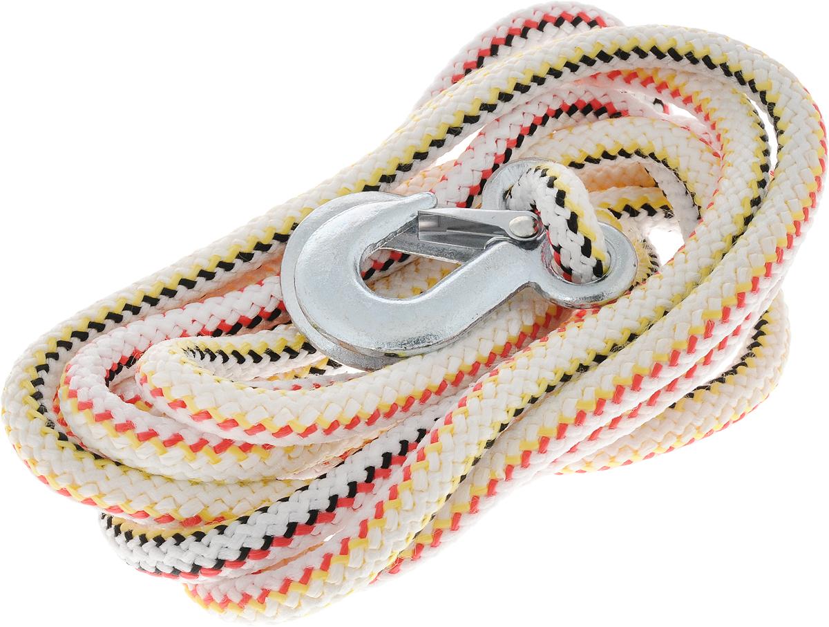 Трос-шнур альпинистский Главдор, с 2 крюками, цвет: белый, красный, черный, диаметр 16 мм, 5 т, 4,73 мGL-253_ красный, черный, желтыйАльпинистский трос Главдор представляет собой шнур из сверхпрочной полипропиленовой нити с двумя стальными крюками. Специальное плетение веревки обеспечивает эластичность троса и плавный старт автомобиля при буксировке. На протяжении всего срока службы не меняет свои линейные размеры. Трос морозостойкий и влагостойкий. Длина троса соответствует ПДД РФ. Буксировочный трос обязательно должен быть в каждом автомобиле. Он необходим на случай аварийной ситуации или если ваш автомобиль застрял на бездорожье. Максимальная нагрузка: 5 т. Длина троса: 4,73 м. Диаметр троса: 16 мм.