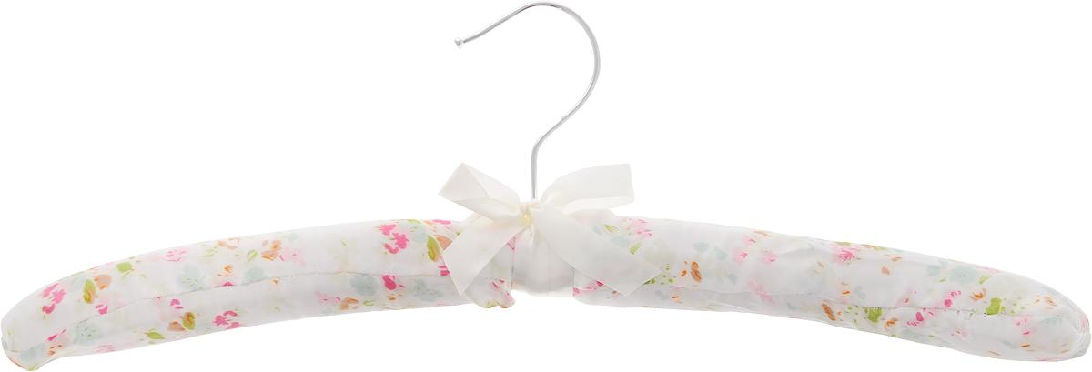 Вешалка для одежды HomeQueen, сатиновая, цвет: белый, розовый, зеленый, длина 39 см70677Вешалка для одежды HomeQueen изготовлена из дерева и обтянута сатиновой тканью, снабжена закругленными плечиками и поворачивающимся металлическим крючком. Вешалка - незаменимая вещь для аккуратного хранения одежды. Размер вешалки: 39 х 3 х 14 см.