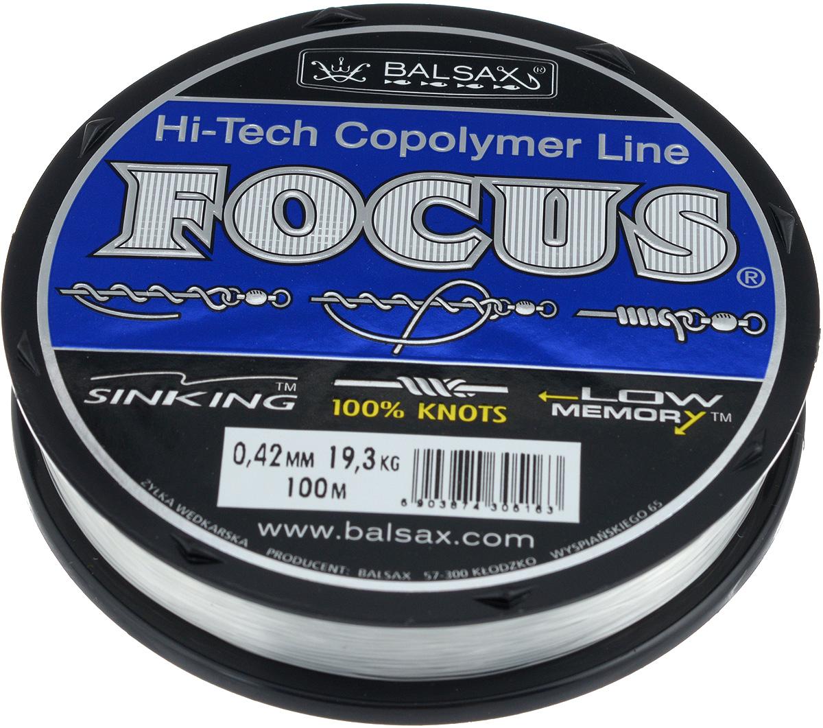 Леска Balsax Focus, 100 м, 0,42 мм, 19,3 кг304-01042Леска Balsax Focus практически идеально прозрачна, а значит, отлично подходит для ловли во всех водоемах, независимо от погодных условий. Очередной особенностью, повышающей достоинства данной лески, является ее стопроцентная сопротивляемость к деформации, что дает рыболовам уверенность в эффективных забросах, а также позволяет избежать безнадежного запутывания лески. Тесты на эластичность и упругость лески доказали, что последняя, пропорционально к другим особенностям, имеет необходимую растяжимость. Для рыболова это означает, что можно даже тащить очень крупную рыбу.