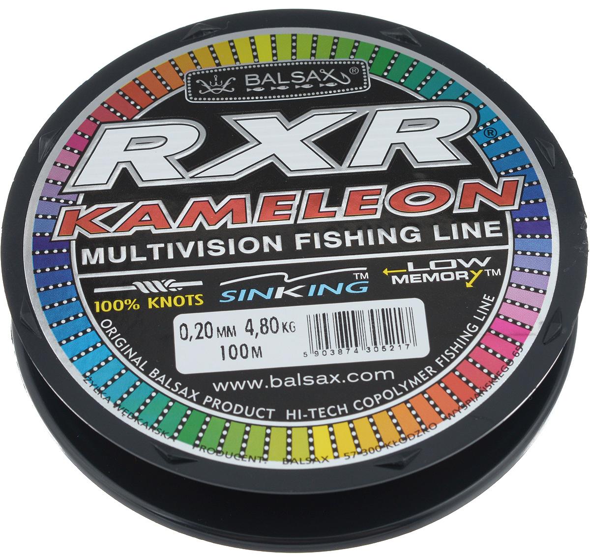 Леска Balsax RXR Kameleon, 100 м, 0,20 мм, 4,8 кг304-07020Леска последнего поколения Balsax RXR Kameleon выполнена из 100% нейлона и не боится истирания. Благодаря особым условиям производства, она способна изменять цвет, приспосабливаясь к внешним условиям. Тесты показали, что такая леска отличается высокой прочностью при растяжении и прочностью в местах вязки узлов. Она не меняет форму и не скручивается. Леска Balsax RXR Kameleon позволяет надежнее засечь рыбу и дает возможность чувствовать каждое движение приманки.