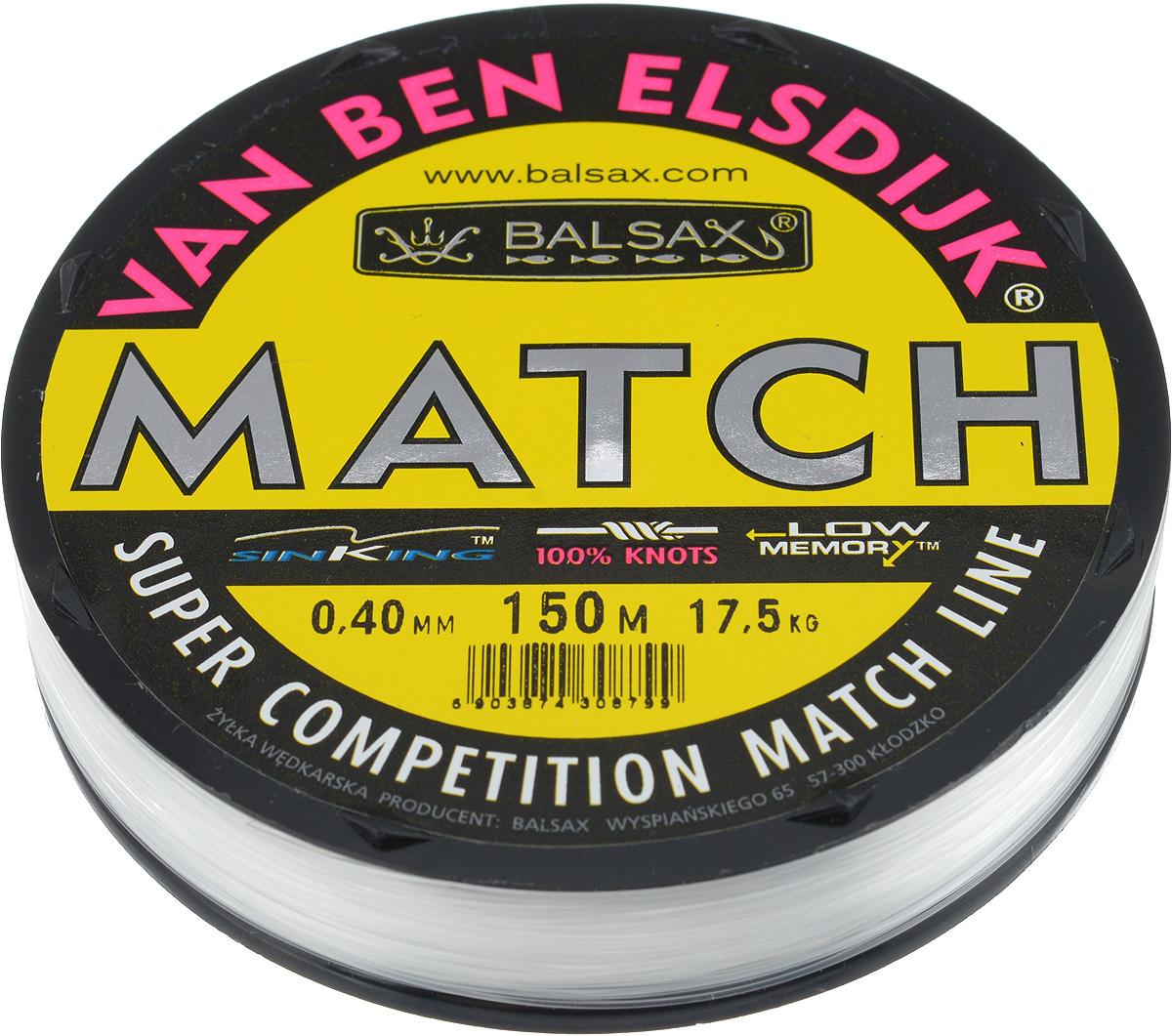 Леска Balsax Match VBE, 150 м, 0,40 мм, 17,5 кг304-10040Опытным спортсменам, участвующим в соревнованиях, нужна надежная леска, в которой можно быть уверенным в любой ситуации. Леска Balsax Match VBE отличается замечательной прочностью на узле и высокой сопротивляемостью к истиранию. Она была проверена на склонность к остаточным деформациям, чтобы убедиться в том, что она обладает наиболее подходящей растяжимостью, отвечая самым строгим требованиям рыболовов. Такая леска отлично подходит как для спортивного, так и для любительского рыболовства.