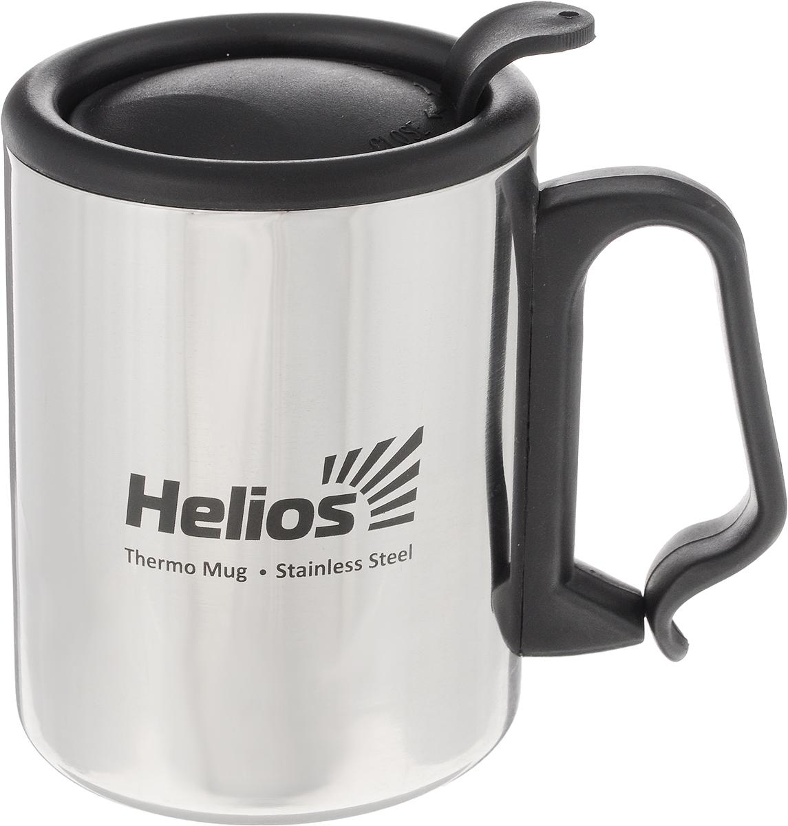 Термокружка Helios HS TK-007, с крышкой-поилкой, 350 мл128984Термокружка Helios HS TK-007 предназначена специально для горячих и холодных напитков. Она изготовлена из высококачественной нержавеющей стали. Двойная стенка гарантирует долгое сохранение температуры и убережет от ожогов при заваривании чая или кофе. Крышка-поилка из термостойкого пластика предохраняет от проливания и не дает напитку остыть. Такая кружка прекрасно сохраняет свою целостность и первозданный вид даже при многократном использовании. Диаметр кружки (по верхнему краю): 8 см. Высота кружки (без учета крышки): 10 см.