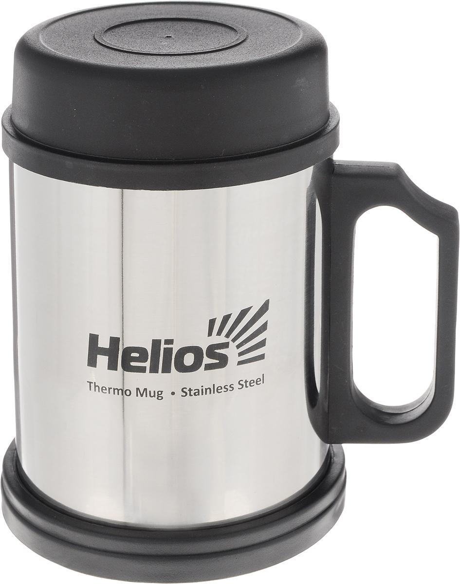 Термокружка Helios HS TK-004, с крышкой и подставкой, 400 мл128981Термокружка Helios HS TK-004 предназначена специально для горячих и холодных напитков. Она изготовлена из высококачественной нержавеющей стали. Двойная стенка гарантирует долгое сохранение температуры и убережет от ожогов при заваривании чая или кофе. Крышка из термостойкого пластика предохраняет от проливания и не дает напитку остыть, а подставка защищает поверхность от воздействия высоких температур. Такая кружка прекрасно сохраняет свою целостность и первозданный вид даже при многократном использовании. Диаметр кружки (по верхнему краю): 7,9 см. Высота кружки (без учета крышки и подставки): 10 см. Высота кружки (с учетом крышки и подставки): 12,5 см.