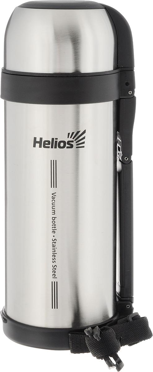Термос Helios HS TM-003, 1,8 л128962Универсальный термос Helios HS TM-003 оснащен широким горлом и двойными стенками с вакуумной изоляцией, которая позволяет сохранять напитки горячими и холодными длительное время. Конструкция пробки позволяет использовать термос как для напитков, так и для первых и вторых блюд. Кнопочный клапан на пробке дает возможность при наливании не открывать термос целиком для сохранения температуры содержимого. Термос имеет складную ручку для удобства наливания содержимого, также в комплекте наплечный ремень для транспортировки и инструкция по эксплуатации. Крышка может послужить вместительной чашей. Диаметр горлышка: 7,5 см. Диаметр основания термоса: 11 см. Высота термоса: 32 см.