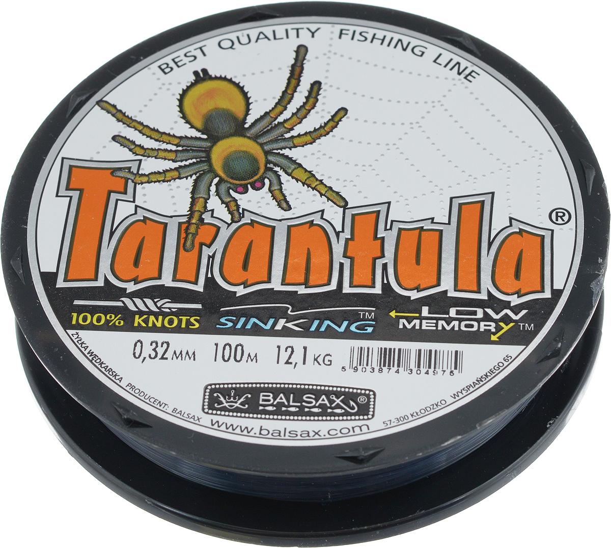 Леска Balsax Tarantula, 100 м, 0,32 мм, 12,1 кг314-07032Леска Balsax Tarantula выполнена из нейлоновой рибозы с покрытием из тефлона. Новая молекулярная структура лески отличается повышенной сопротивляемостью к разрыву, но при этом она способна и растягиваться. Растяжимость в случае применения этой лески является отличным достоинством, особенно во время энергичной борьбы с рыбой, как амортизатор защищая оснастку от обрыва.
