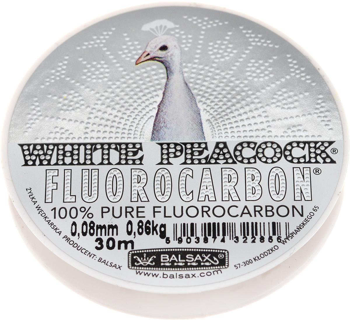 "Леска флюорокарбоновая Balsax ""White Peacock"", 30 м, 0,08 мм, 0,86 кг 310-15008"