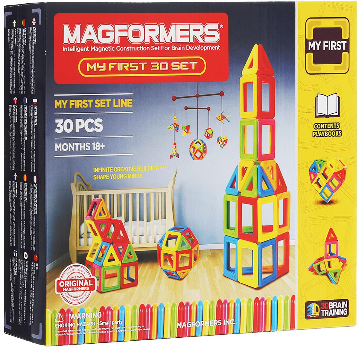 Magformers Магнитный конструктор My First 3063107/702001В производстве деталей магнитного конструктора Magformers My First 30 используется особо прочный пластик, устойчивый к механическим повреждениям. Именно этот конструктор, вместе с набором Magformers My First 54, получил возрастную категорию 0+ и может быть использован для игры детьми с рождения. Детали, которые вы можете увидеть в данном наборе, выполнены из непрозрачного пластика ярких цветов. Сначала ребенок может изучать сами детали: они крупные и не имеют острых углов и неровных краев, что исключает проглатывание или повреждение нежной кожи малышей. Вы можете создавать аппликации на плоскости, например, на холодильнике. А так как детали будут прилипать любой стороной, то у ребенка не будет сложностей с самостоятельным выполнением данного задания. С магнитным конструктором Magformers My First 30 вы сможете заниматься с вашим ребенком изучением цветов и геометрических форм в более старшем возрасте. Дальше можно переходить к изучению объемных фигур и созданию первых...