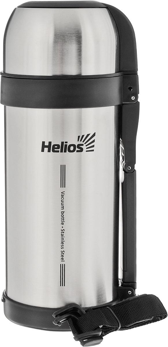Термос Helios HS TM-002, 1,5 л128961Универсальный термос Helios HS TM-002 оснащен широким горлом и двойными стенками с вакуумной изоляцией, которая позволяет сохранять напитки горячими и холодными длительное время. Конструкция пробки позволяет использовать термос как для напитков, так и для первых и вторых блюд. Кнопочный клапан на пробке дает возможность при наливании не открывать термос целиком для сохранения температуры содержимого. Термос имеет складную ручку для удобства наливания содержимого, также в комплекте наплечный ремень для транспортировки и инструкция по эксплуатации. Крышка может послужить вместительной чашей. Диаметр горлышка: 7,5 см. Диаметр основания термоса: 11 см. Высота термоса (с учетом крышки): 29 см.
