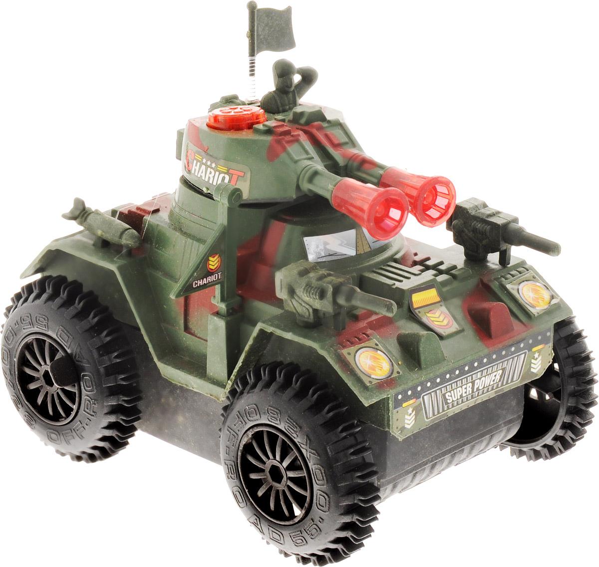Junfa Toys Танк Super Chariot2102B/2103BВсем мальчишкам нравится устраивать сражения. Танк Junfa Toys Super Chariot, несомненно, станет прекрасным подарком мальчику, любящему поиграть в войнушку. Игрушка оснащена звуковым сопровождением и световыми эффектами, имеет большие колеса и расцветку близкую к милитари, все это сделает игру интересней. Вы можете быть абсолютно уверены в безопасности изделия для вашего малыша, ведь при производстве используются только высококачественные нетоксичные материалы. Необходимо купить 3 батарейки напряжением 1,5V типа АА (не входят в комплект).