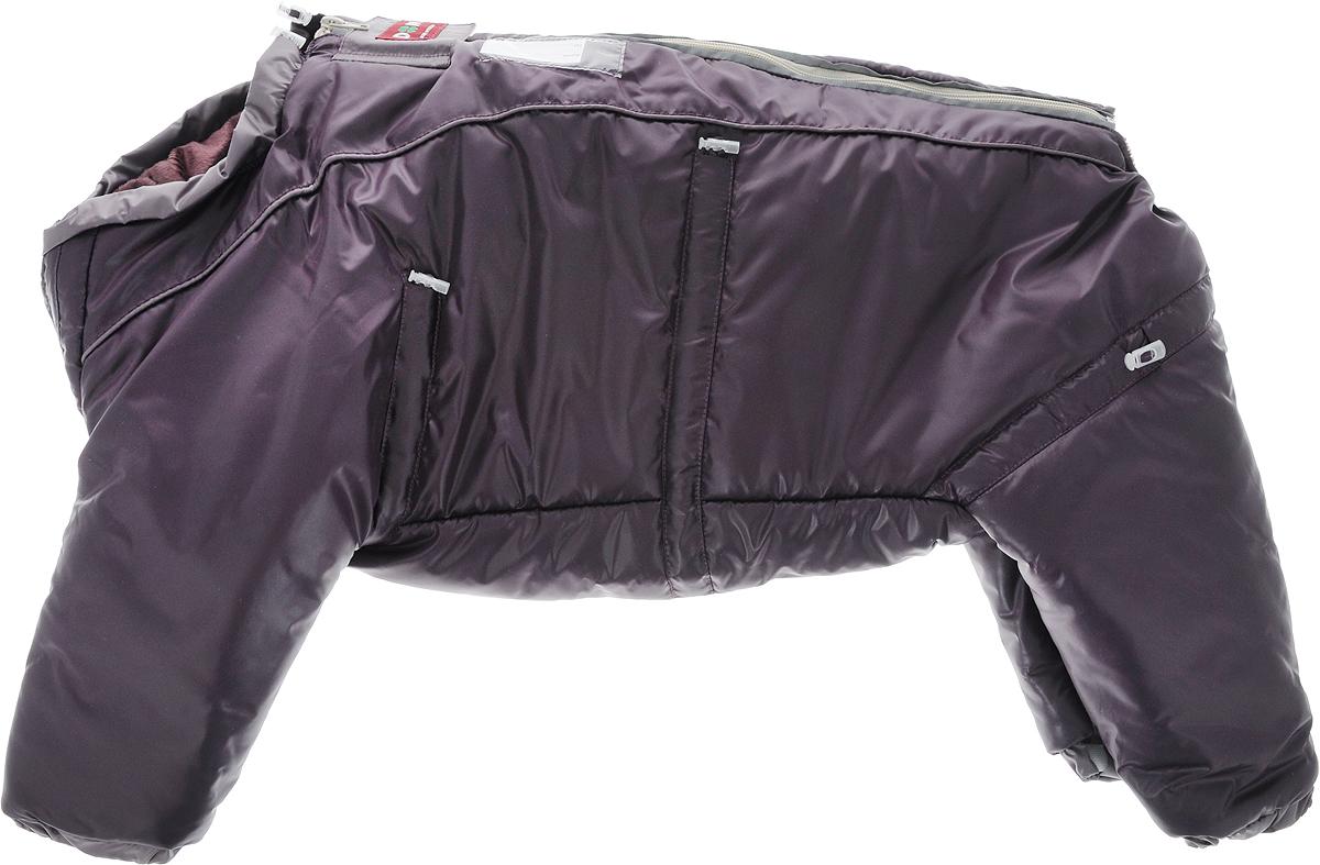Комбинезон для собак Dogmoda Doggs, зимний, для девочки, цвет: темно-фиолетовый. Размер XLDM-140539_темно-фиолетовыйУтепленный комбинезон для собак Dogmoda Doggs отлично подойдет для прогулок в зимнее время года. Комбинезон изготовлен из водоотталкивающего полиэстера, защищающего от ветра и снега, с утеплителем из синтепона, который сохранит тепло даже в сильные морозы. В качестве подкладки используется искусственный мех, который обеспечивает отличный воздухообмен. Комбинезон застегивается на молнию на спинке и дополнительно на липучку, благодаря чему его легко одевать и снимать. Молния и рукав передней правой лапки снабжены светоотражающими элементами. Резинки мягко обхватывают лапки и тело вашего питомца, не позволяя просачиваться холодному воздуху. На вороте, пояснице и лапках комбинезон затягивается на шнурок-кулиску с затяжкой. Модель снабжена непромокаемым карманом для размещения записки с информацией о вашем питомце, на случай если он потеряется. Благодаря такому комбинезону простуда не грозит вашему питомцу, и он сможет испытать несравнимое удовольствие от снежных игр и забав....