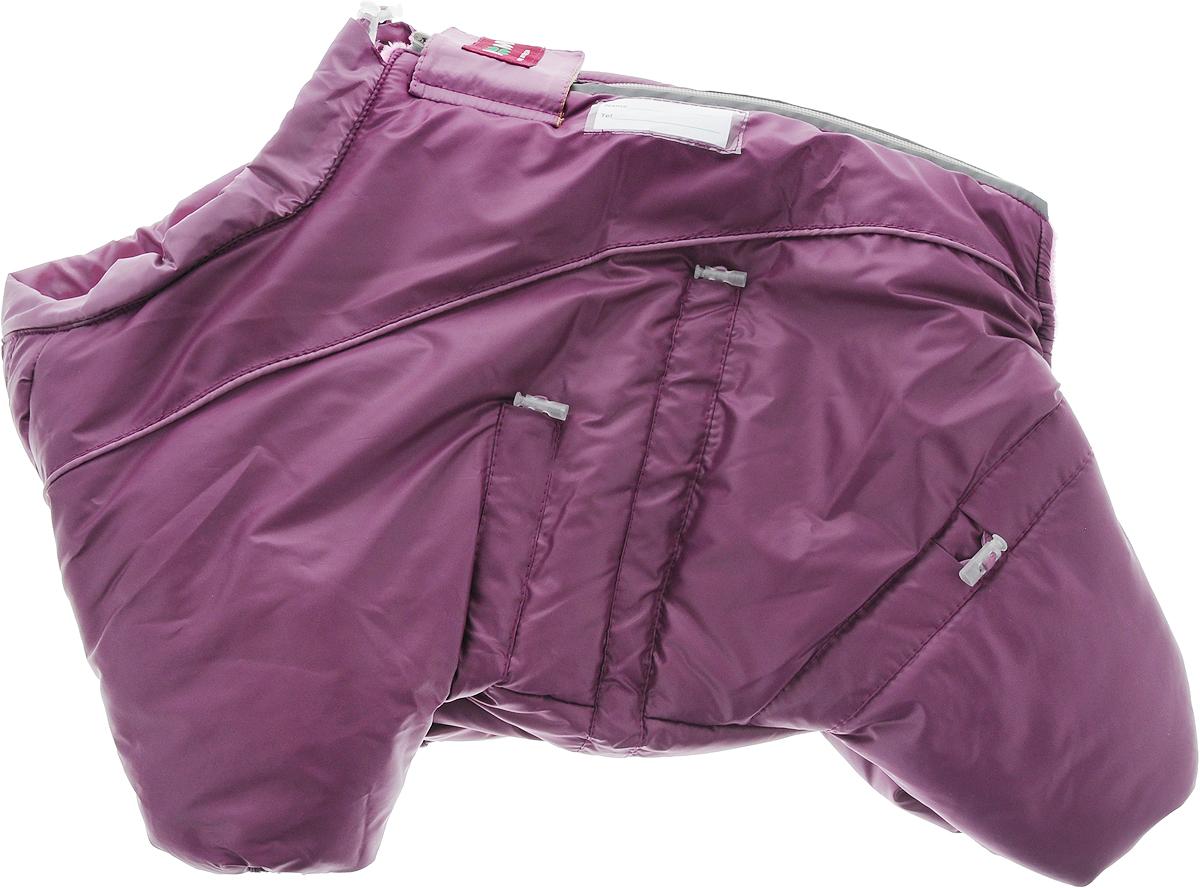 Комбинезон для собак Dogmoda Doggs, зимний, для девочки, цвет: фиолетовый. Размер SDM-140533_фиолетовыйУтепленный комбинезон для собак Dogmoda Doggs отлично подойдет для прогулок в зимнее время года. Комбинезон изготовлен из водоотталкивающего полиэстера, защищающего от ветра и снега, с утеплителем из синтепона, который сохранит тепло даже в сильные морозы. В качестве подкладки используется искусственный мех, который обеспечивает отличный воздухообмен. Комбинезон застегивается на молнию на спинке и дополнительно на липучку, благодаря чему его легко одевать и снимать. Молния и рукав передней правой лапки снабжены светоотражающими элементами. Резинки мягко обхватывают лапки и тело вашего питомца, не позволяя просачиваться холодному воздуху. На вороте, пояснице и лапках комбинезон затягивается на шнурок-кулиску с затяжкой. Модель снабжена непромокаемым карманом для размещения записки с информацией о вашем питомце, на случай если он потеряется. Благодаря такому комбинезону простуда не грозит вашему питомцу, и он сможет испытать несравненное...