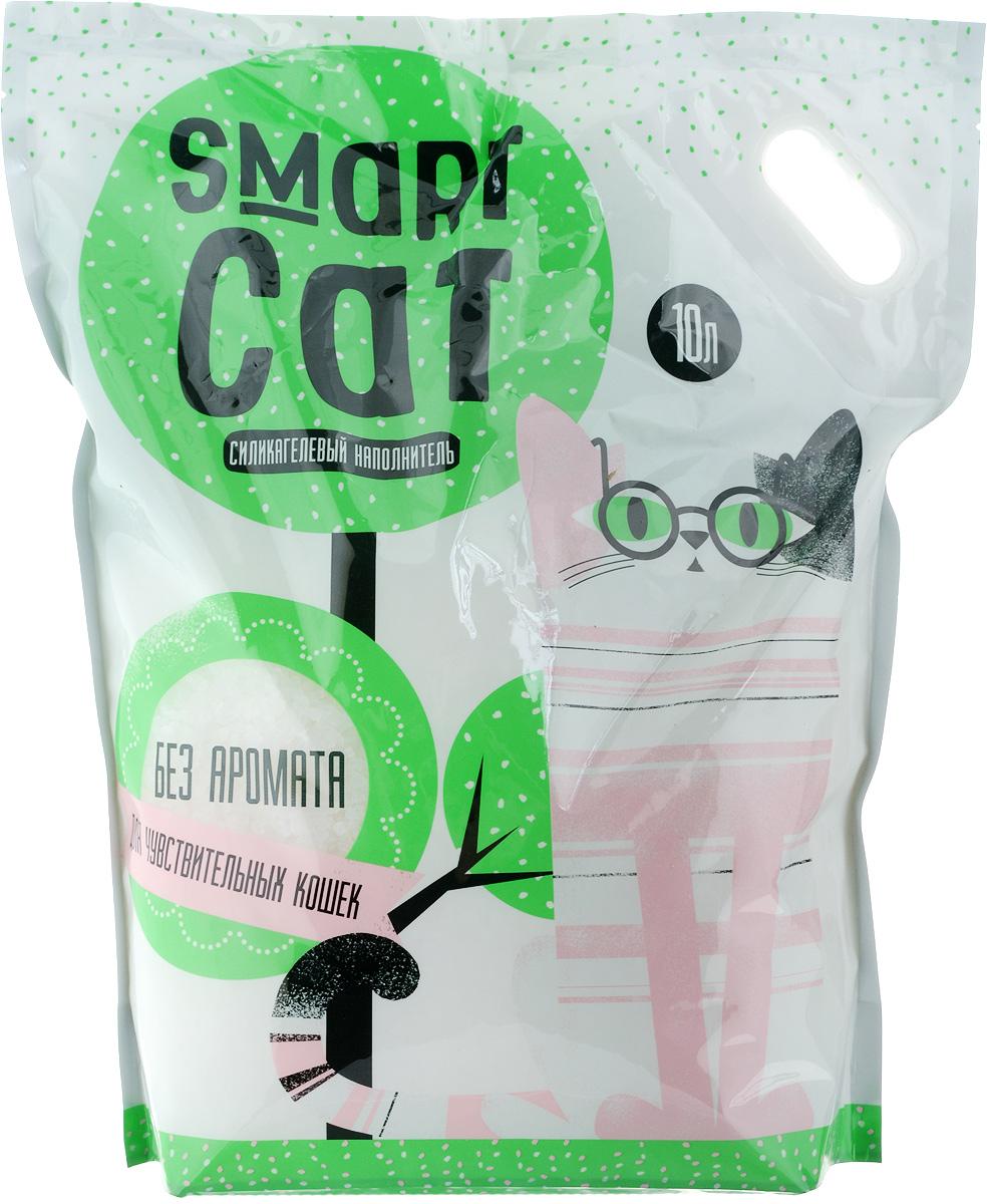 Наполнитель для кошачьих туалетов Smart Cat, силикагелевый, для чувствительных кошек, без аромата, 10 л24572Силикагелевый наполнитель Smart Cat представляет собой мелкие белоснежные гранулы, изготовленные из сухого геля поликремниевой кислоты. Такой состав обладает прекрасной способностью впитывать жидкость, а также мгновенно поглощать и удерживать туалетные запахи. Наполнитель Smart Cat не вызывает у питомцев аллергических реакций, не поднимает пыль при использовании и не прилипает к нежным кошачьим лапкам и длинной шерсти, а значит, не разносится по окружающей туалет территории. Использованный наполнитель из силикагеля удаляется из кошачьего лотка специальным совочком и утилизируется в мусорное ведро (его нельзя выбрасывать в унитаз). Специальная формула без запаха разработана специально для кошек с особо чувствительным обонянием. Наполнитель Smart Cat заботится о чистоте вашего дома и комфорте питомца! Товар сертифицирован.