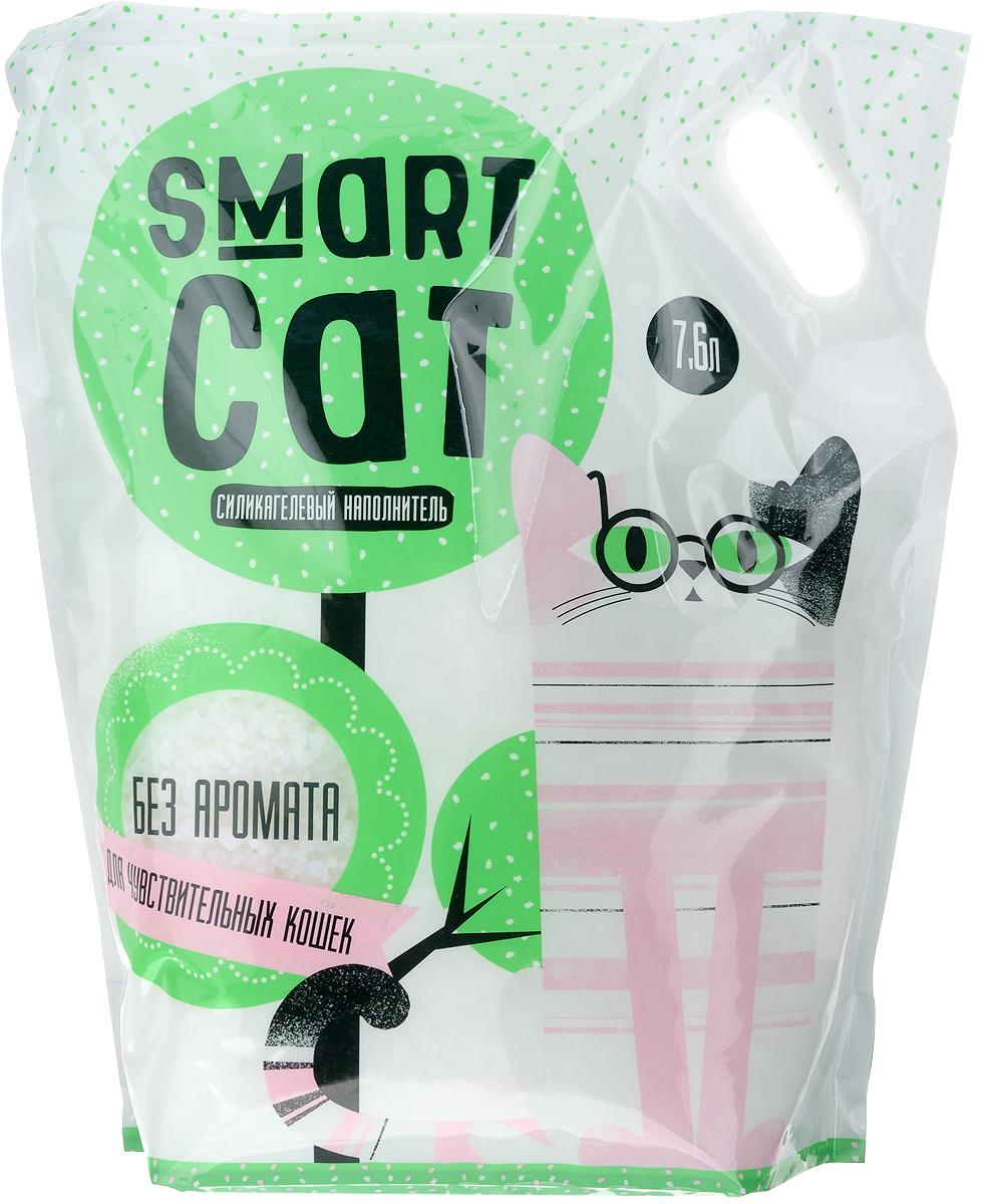 Наполнитель для кошачьих туалетов Smart Cat, силикагелевый, для чувствительных кошек, без аромата, 7,6 л24571Силикагелевый наполнитель Smart Cat представляет собой мелкие белоснежные гранулы, изготовленные из сухого геля поликремниевой кислоты. Такой состав обладает прекрасной способностью впитывать жидкость, а также мгновенно поглощать и удерживать туалетные запахи. Наполнитель Smart Cat не вызывает у питомцев аллергических реакций, не поднимает пыль при использовании и не прилипает к нежным кошачьим лапкам и длинной шерсти, а значит, не разносится по окружающей туалет территории. Использованный наполнитель из силикагеля удаляется из кошачьего лотка специальным совочком и утилизируется в мусорное ведро (его нельзя выбрасывать в унитаз). Специальная формула без запаха разработана для кошек с особо чувствительным обонянием. Наполнитель Smart Cat заботится о чистоте вашего дома и комфорте питомца! Товар сертифицирован.