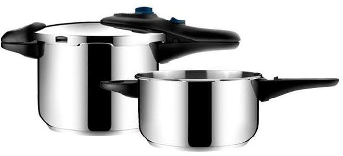Скороварка Tescoma Presto Duo , 4,0 и 6,0 л. 701510701510Набор скороварок PRESTO 4,0 и 6,0 л: - изготовлены из высококачественной нержавеющей стали 18/10 - позволяет готовить при низком или высоком давлении, что способствует сохранению натурального вкуса и пищевой ценности блюд - массивные ручки – не обжигают руки! - экстратолстое сэндвичевое дно – препятствует пригоранию - элегантный дизайн - современный штыковой затвор - подходит для газовых, электрических, стеклокерамических и индукционных плит - универсальная крышка на две кастрюли Материал: нержавеющая сталь