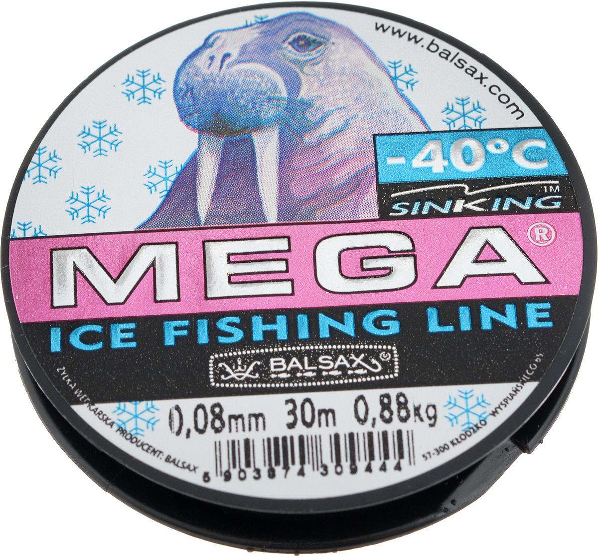 Леска зимняя Balsax Mega, 30 м, 0,08 мм, 0,88 кг310-11008Леска Balsax Mega изготовлена из 100% нейлона и очень хорошо выдерживает низкие температуры. Даже в самом холодном климате, при температуре вплоть до -40°C, она сохраняет свои свойства практически без изменений, в то время как традиционные лески становятся менее эластичными и теряют прочность. Поверхность лески обработана таким образом, что она не обмерзает и отлично подходит для подледного лова. Прочна в местах вязки узлов даже при минимальном диаметре.