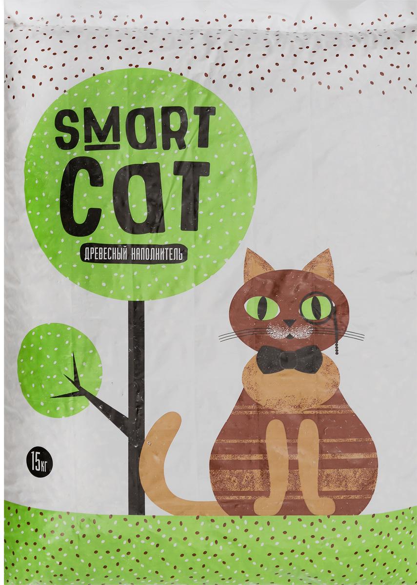 """Наполнитель для кошачьих туалетов """"Smart Cat"""", древесный, 15 кг 25096"""