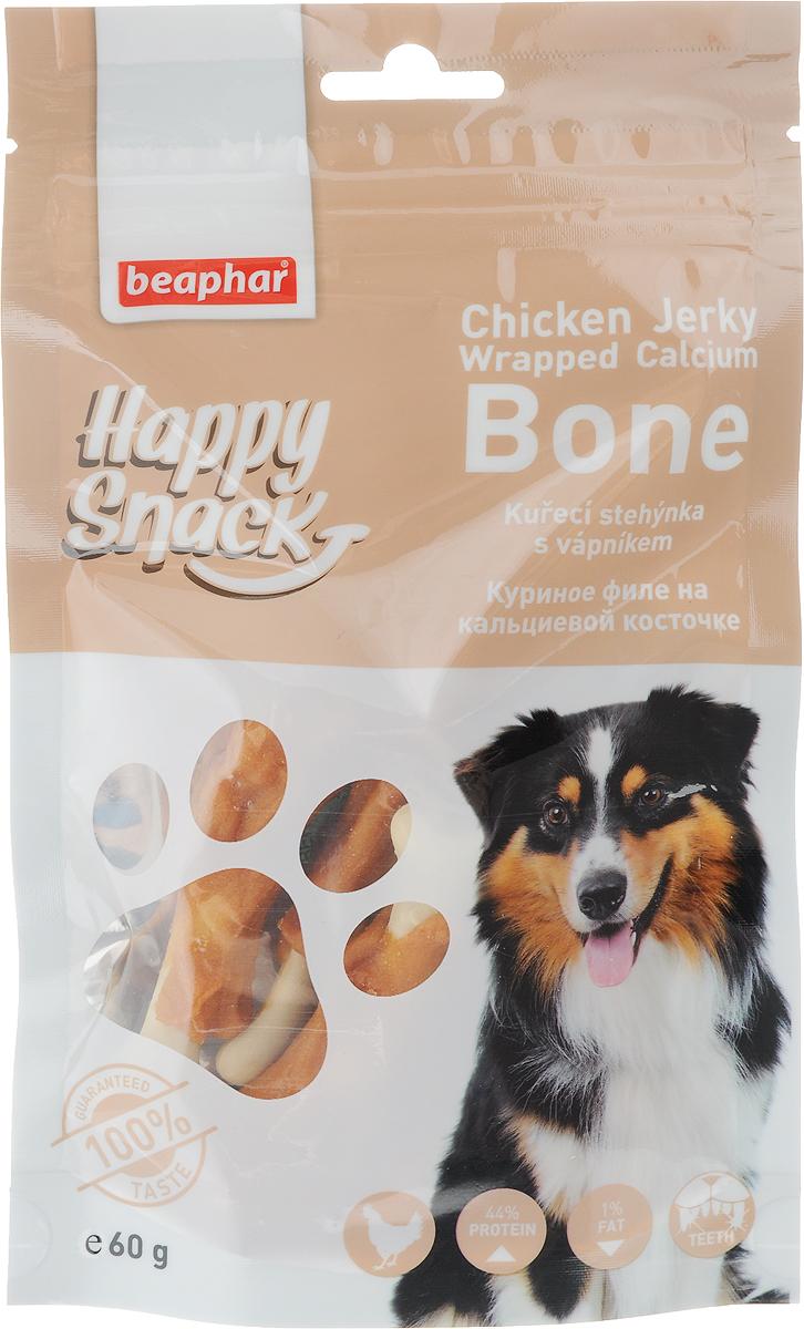 Лакомство для собак Beaphar Happy Snack, куриное филе на кальциевой косточке, 60 г42180Лакомство для собак Beaphar Happy Snack - дополнительный корм для взрослых собак старше 6-месячного возраста в виде куриных ножек. Продукт станет излюбленным лакомством, а также прекрасным вознаграждением при дрессуре. Специальный замок zip-lock на упаковке позволяет дольше хранить лакомство. Товар сертифицирован.