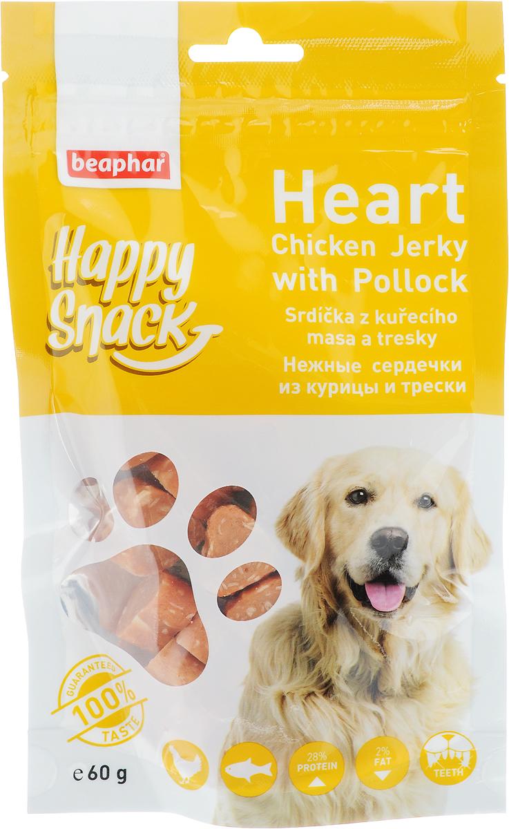 Лакомство для собак Beaphar Happy Snack, нежные сердечки из курицы и трески, 60 г42183Лакомство для собак Beaphar Happy Snack - дополнительный корм для взрослых собак старше 6-месячного возраста в виде нежных сердечек с курицей и треской. Продукт станет излюбленным лакомством, а также прекрасным вознаграждением при дрессуре. Специальный замок zip-lock на упаковке позволяет дольше хранить лакомство. Товар сертифицирован.